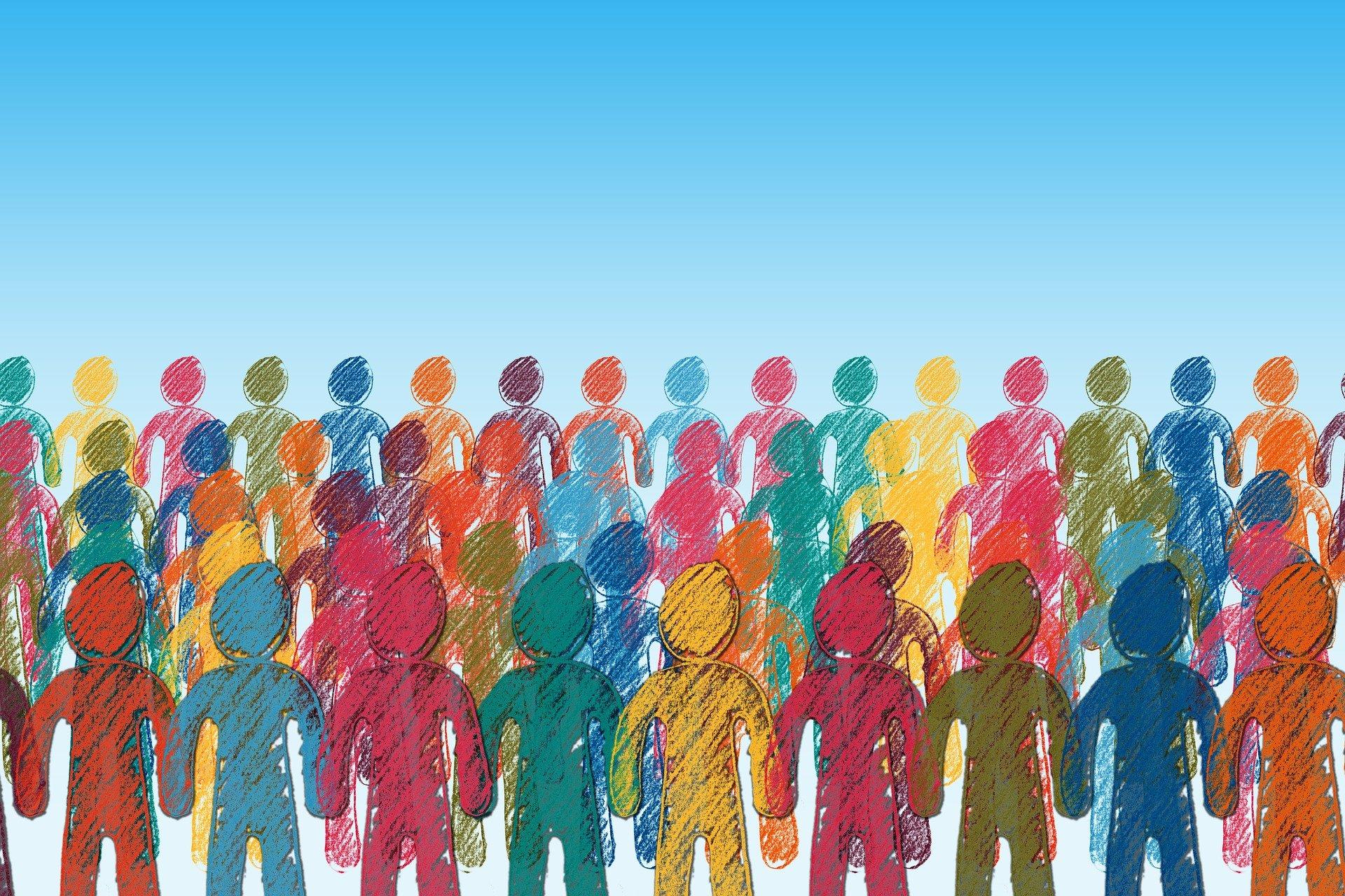 Mehrere Reihen von Menschen durchgehend von links nach rechts. Die Reihen stehen hintereinander. Die Menschen sind nur grob gezeichnet in ganz bunten Farben und ausgemalt. Dieses Bild soll für die Kultur- und Sozialwissenschaften stehen.