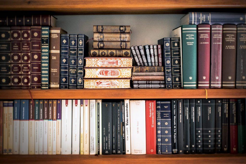 Zwei Reihen eines Holzregals. In dem Regal stehen und liegen viele verschiedene Bücher, Ältere und Neuere. Dieses Bild soll die Rechtswissenschaften darstellen.